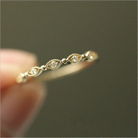 Simple Criss Cross White Sapphire Wedding Ring Yellow Gold Engagement Jewelry