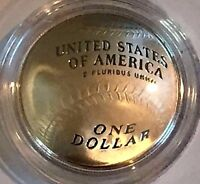 "2014 BASEBALL HALL OF FAME ""PROOF SILVER DOLLAR""-COA + OGP- 90% SILVER-ID # B 33"