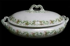 Vintage Ridgway China Covered Serving Bowl Celtic Green w/Pink Flowers England