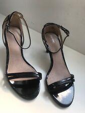 Ladies NEXT Size 5 Black Patent Leather Medium Heel Strappy Sandals