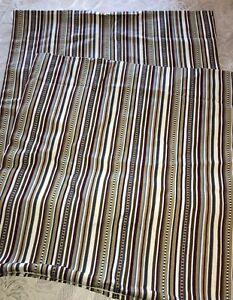 IKEA Pillow Sham Pair Elvilda Design 20 x 20 Zippered Brown Blue Stripes