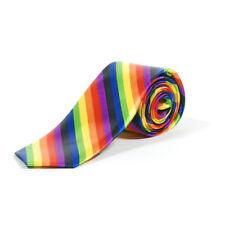 Retro Rainbow Striped Skinny Tie - Gay Pride Funky Colourful LGBT