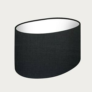 **. SALE  ** 30 cm Rounded Oval Lampshade Midnight Black Texture Woven Fabric