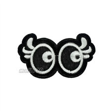 Black White Glasses Eyes Embroidered Sew on Iron on Patch Badge Patches Applique