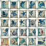 Marine Nautical Ocean Sea Life Pillow Case Throw Cushion Cover Sofa Home Decor