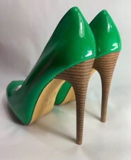 "Mirella Womens 1"" Platform Green Patent 5"" Stiletto Spike High Heel Shoes Size 7"