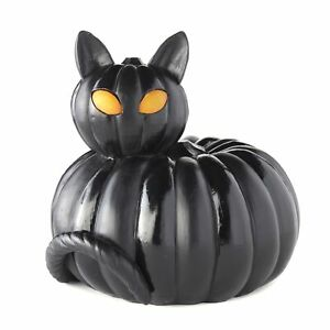 Ceramic Cat Head on Pumpkin Body with Lighted Eyes in Sitting Position Figure