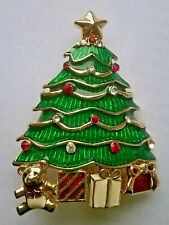 VINTAGE MONET DIAMANTE & ENAMEL CHRISTMAS TREE BROOCH PIN RHINESTONE TEDDY STAR