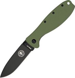 Esee Zancudo Framelock Pocket Knife Black Coated D2 Steel Green Handle BRKR2ODB