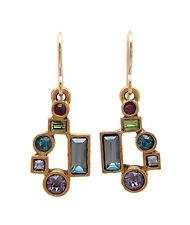 PATRICIA LOCKE Waterlily Gotham Multi Color Swarovski Crystal Gold Hook Earrings