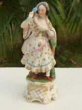 Ancienne statuette flacon Femme au masque en porcelaine de Paris n707