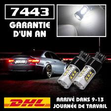 2 AMPOULE W21/5W T20 16-LED SMD 2835 ECLAIRAGE CANBUS BLANC 6000K FEUX DE JOUR