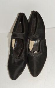Edwardian Black Silk / Beaded Evening Shoes appx. 6 1/2 - 7 N