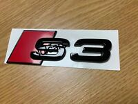 Gloss Black Badge Emblem Logo for Audi S3 Rear Boot Trunk (adhesive Backing) NEW