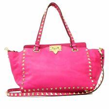 Authentic Valentino Rockstud Shoulder Hand Bag Leather Pink Excellent G1522