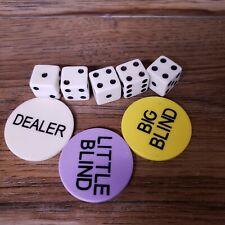 "Dealer Button Large Little & Big Blind Poker Chip with Dice Texas Hold em 1.5 """