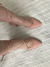 69006f590df Jeffrey Campbell Pink Suede Lace Up Kitten Heels