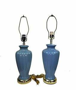 Set of 2 Vintage Mid Century Ceramic Pottery Lamps ~ Blue Urn style