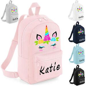 Personalised Kids Backpack Any Name Unicorn Girls Back to School Bag