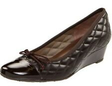 Fs/ny French Sole Deluxe Women's Wedge PUMPS Leather Brown Patent /nylon Size 8