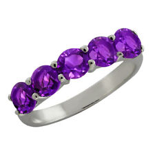 Not Enhanced Amethyst Sterling Silver Fine Rings