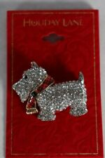 Holiday Lane Gold Tone Clear Crystal Scotty Pin / Brooch $24.50 New
