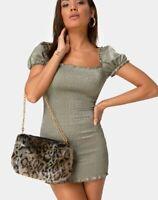 MOTEL ROCKS Milina Dress in Satin Khaki M Medium  (MR54)