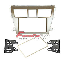 Car Stereo Fascia Panel 2 Din Silver Frame For Toyota Vios Yaris Sedan Belta