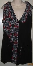 LILIA Brand XL Size Open Front Sleeveless Top - Black, Red & Grey