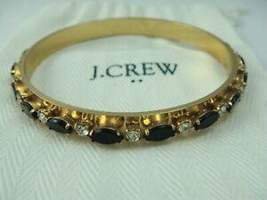 "J Crew Black & Clear Crystal Rhinestone 7mm Gold Tone 8"" Bangle Bracelet w Bag"