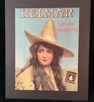 Unique Vtg Helmar Turkish Cigarette Cowgirl Poster Mounted on Blue Mat Unusual