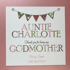 Personalised Handmade Godmother Thank You Card Godfather Godparents - 3 Colours
