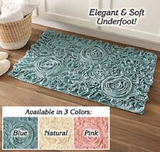Bell Flower Bath Rug Chic Cotton Bath Mat No-Slip Latex Backing Choose Color