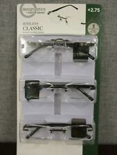 Design Optics By Foster Grant Rimless Reading Glasses, 3-pack +2.75