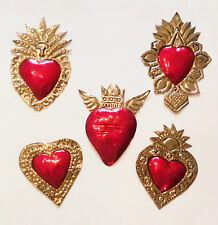 Unique Mexican Tin Hearts Set Of 5 Wall Hanging Ornaments Hand Punched Metal 20