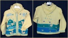 Kinderjacke cardigan for kids Blau Größe 98/104 Tiermotive aus Peru Kapuze Neu!