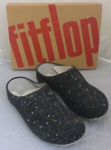 Fitflop Shuv Felt Dark Grey Speckle Wool Slip On Mule Clog Slippers Box Size 9