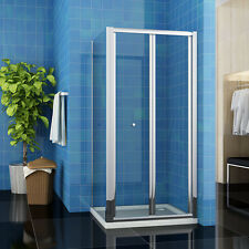 1000x800mm Frameless Shower Screen Bifold Door with Glass Side Panel Cubical