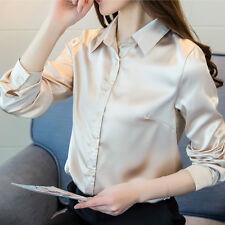 908a27324ba Women Satin Silk Long Sleeve Button-Down Shirt Formal Work Shiny Blouse Top