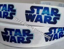 """1 Metro De Chicos Star Wars blanco de cinta de Grogrén 22mm 7/8 """"Arco Pastel Tarjeta Cumpleaños"""