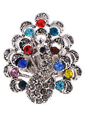 Gun Metal Tone Rainbow Color Blue Red Green Rhinestone Peacock Custom Made Ring