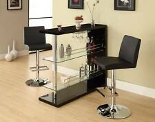 3 Piece Bar Table Set in Gloss Black with 2 Bar Stools by Coaster 100165-120357