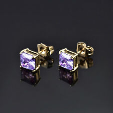HUCHE Square Purple Sapphire Amethyst Crystal 24K Gold Filled Lady Stud Earrings