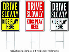 "Drive Slowly Kids Play Here Yard Sign, Drive Slow/Children at Play 12"" x 18"""