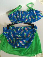 Joe Boxer Girls Swimsuit Size 10/12 Blue Green Parrot 3 Piece Design UPF 40