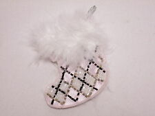 White Pink Fluffy Stocking Christmas Hanging Decoration Embroidered Motif #2A84