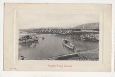 Hooghly Bridge Calcutta India Vintage Postcard AH Perris US057