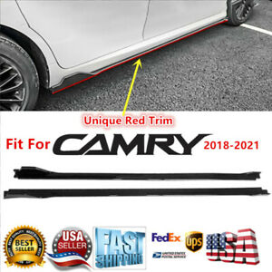 Fits 2018-2021 Toyota Camry Side Skirts Extensions Gloss Black with Red Trim