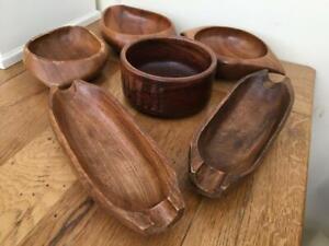 VINTAGE WOODEN Serving/Snack Bowls x 6