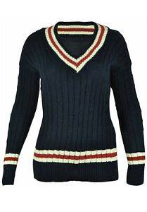 Ladies V Neck Cable Knitted Cricket Jumper Stretch Long Sleeve Stripe Top